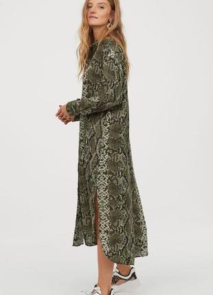 """Стильное длинное платье-рубашка с принтом """"рептилия"""""""