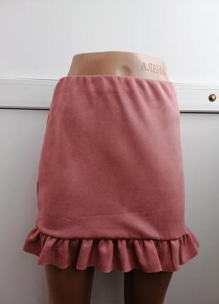 Юбка женская розовая под замшу мини