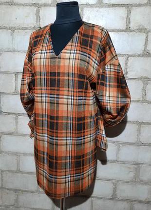Платье zara с объемным рукавом