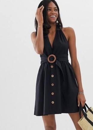 Платье сарафан asos с открытой спиной с пуговицами спереди и с поясом