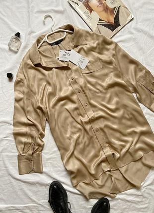 Стильна блуза/сорочка,від zara,бежевого кольору/шовкова