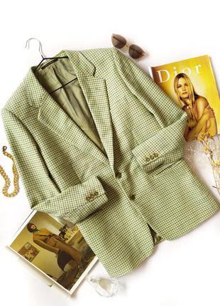 Салатовый пиджак оверсайз зеленый гусиная лапка клетка шерсть кашемир винтаж
