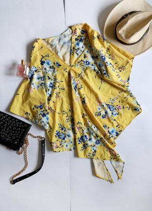 Asos жовта асиметрична оверсайз блуза принт квіти