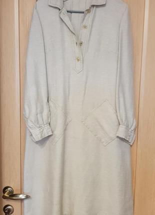 Платье рубашка миди бежевое молочное