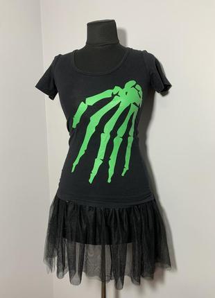 Рука скелета топ с юбкой туту костюм хеллоуин светится в темноте