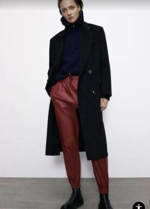 Zara эко кожа джогеры штаны