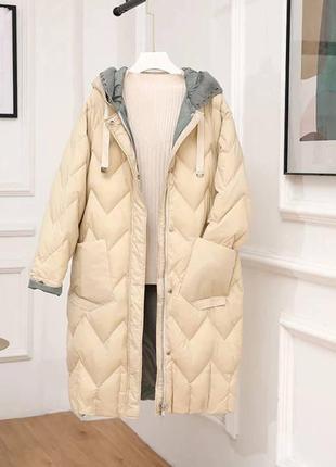 Пуховик-пальто с вязанным капюшоном гусиный пух