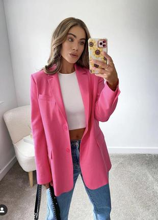 Пиджак от zara фуксия, объёмный жакет на осень розовый, блейзер зара оверсайз oversize