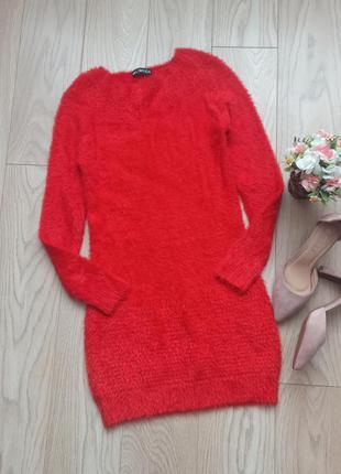 Теплое красное пушистое платье, травка. р.s