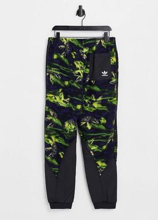 Тёплые флисовые зелёные кислотные рейв киберпанк спортивные штаны adidas