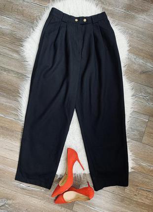Стильные широкие брюки с защипами. высокая посадка. 100% шерсть