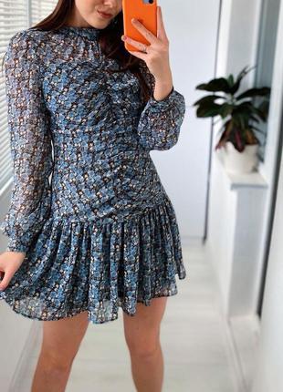 Идеальное голубое шифоновое платье