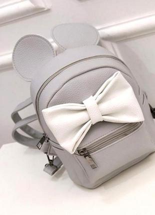Милый маленький женский рюкзак с ушами микки aliri-00227 серо-белый