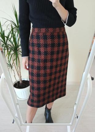 Теплая юбка миди из 💯% шерсти/спідниця