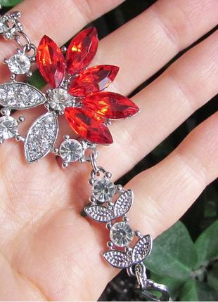 🏵элегантный красивый красный браслет в кристаллах! арт. 109134