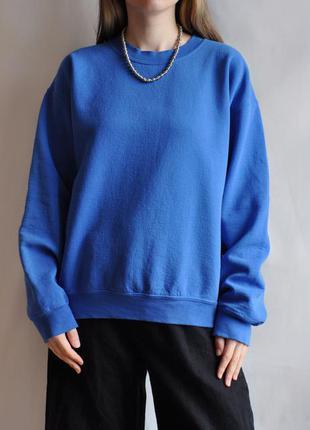 Свитшот синий толстовка кофта свитер базовый яркий голубой осень спортивный gildain