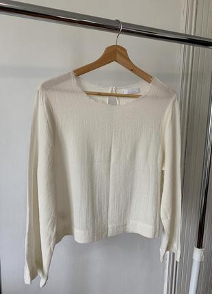 Базовая лёгкая блуза молочного оттенка mango premium