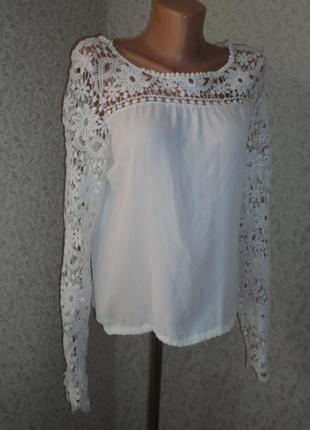 Шикарная белая блуза р.10-12  (ог 100, рук.70)