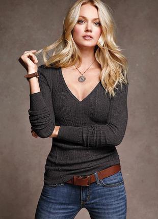 Victoria's secret v-neck ribbed sweater свитер лапша оригинал термо