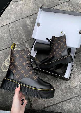 Jadon x lv fur premium женские кожаные ботинки на меху зима