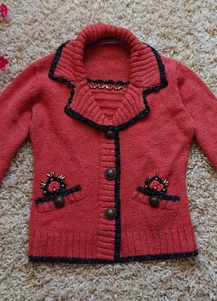 Женский свитер морковного цвета , кофта , джемпер , пуловер р.м