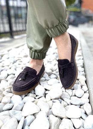 Туфли женские 932-50 серые (весна-лето замша натуральная)