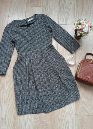 Классное серое шерстяное платье, hofmann, s