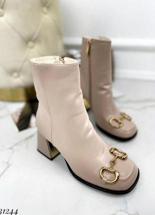 🍁женские ботильоны с квадратным носком  на каблуке с украшением