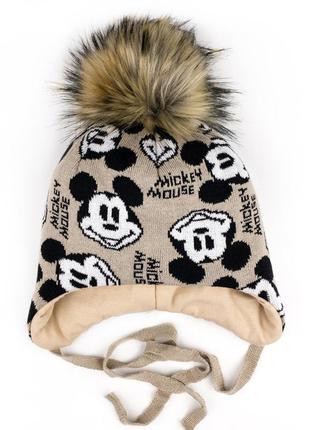 Шапка мартин 48рр 50 и 52рр тёплая зимняя шапочка с помпоном.