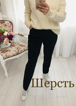 Brax базовые чёрные брюки с содержанием шерсти штаны с высокой