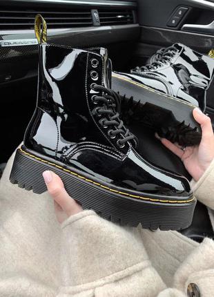 Jadon patent  fur  black premium женские кожаные ботинки на меху зима