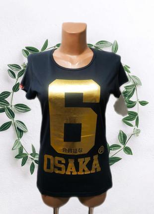 444. женская футболка superdry с золотым принтом, оригинал