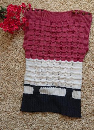 Женская вязаная жилетка кофта джемпер свитер размер батал 48 /50