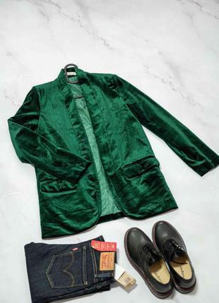 Велюровый изумрудный пиджак, бархотный жакет, блайзер, велюровый пиджак в стиле zara