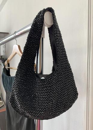 Чёрная блестящая костёльная сумка обшитая бисером accessorize