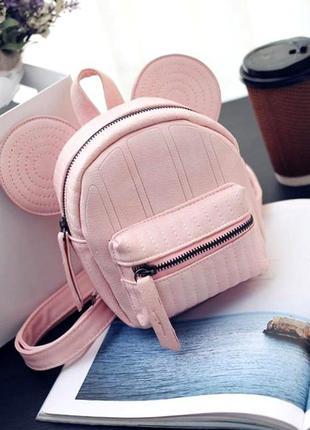 Женский маленький милый рюкзак с ушами aliri-00229 розовый