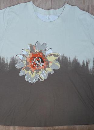Кофточка футболка с цветком 52-54р, xxxl большой размер