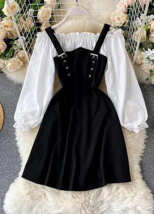 Сарафан с блузой , черный сарафан, сарафан 44 размера