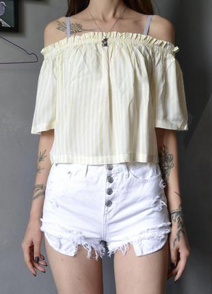 Летний топ блуза с открытыми плечами в полоску