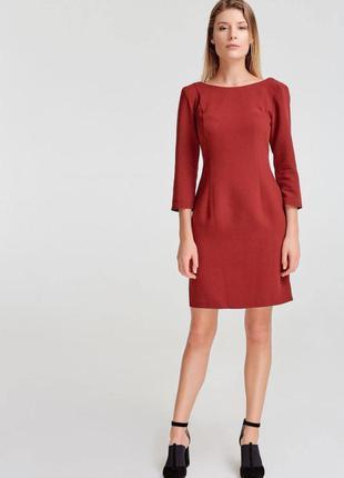 Бордовое платье-футляр vovk с вырезом на спине из костюмной ткани (s) новое с биркой