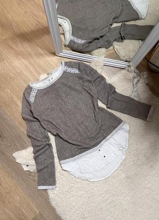 Кофта с рубашкой , свитер