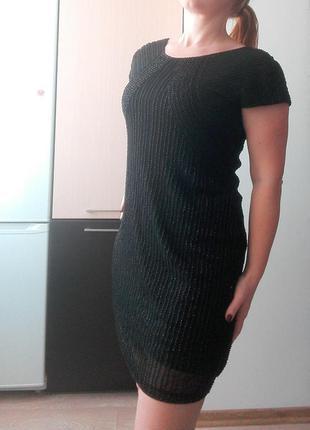 Вечернее черное платье расшито бисером, р.l