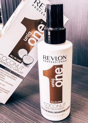 Revlon uniq one coconut all in one hair treatment спрей для волос с ароматом кокоса.
