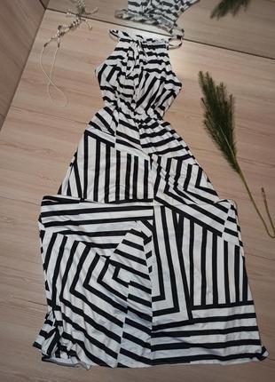 Сарафан, платье в пол, в полоску
