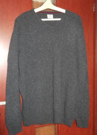 Базовый свитер джемпер пуловер серый, 100% шерсть lambswool, хl-xxl, acw85 matalan