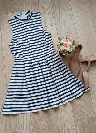 Белое летнее платье в полоску, с пышной юбкой, s