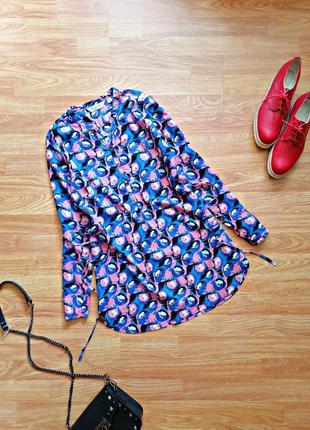 Женская батистовая удлиненная синяя розовая рубашка - блуза принт regatta - размер 42-44