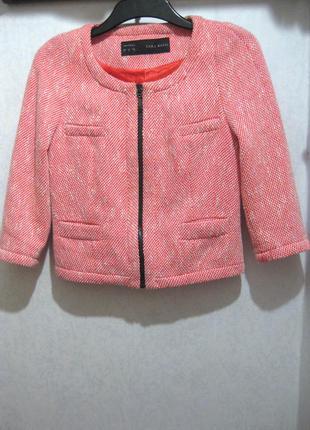 Пиджак zara марокко оранжевый розовый твидовый