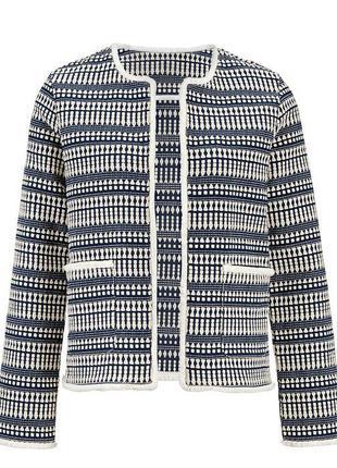 Пиджак modern women by tchibo рябой полоска клетка белый синий разноцветный твидов
