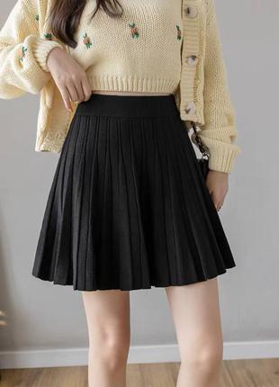 Юбка плиссе , черная юбка , вязаная юбка